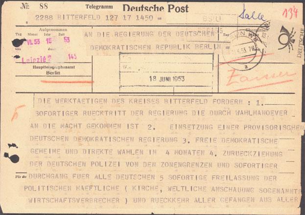 Telegramm des Kreisstreikkomitees (Vorderseite)