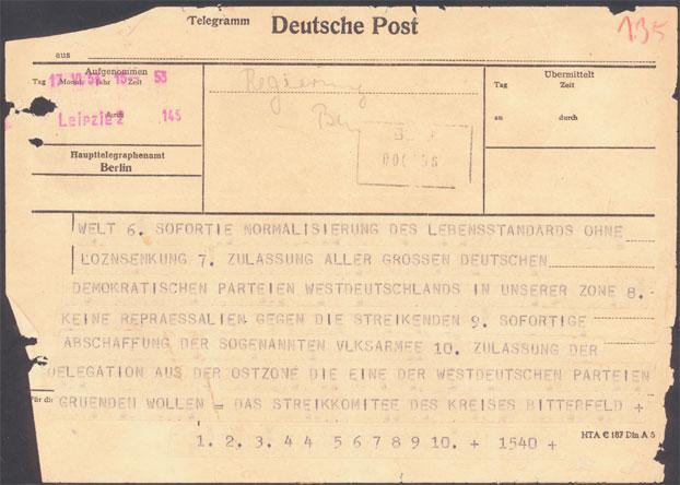 Telegramm des Kreisstreikkomitees (Rückseite)