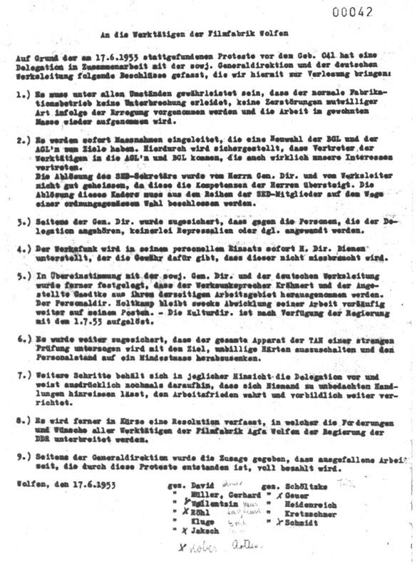 Bekanntmachung der Streikleitung der Filmfabrik Wolfen