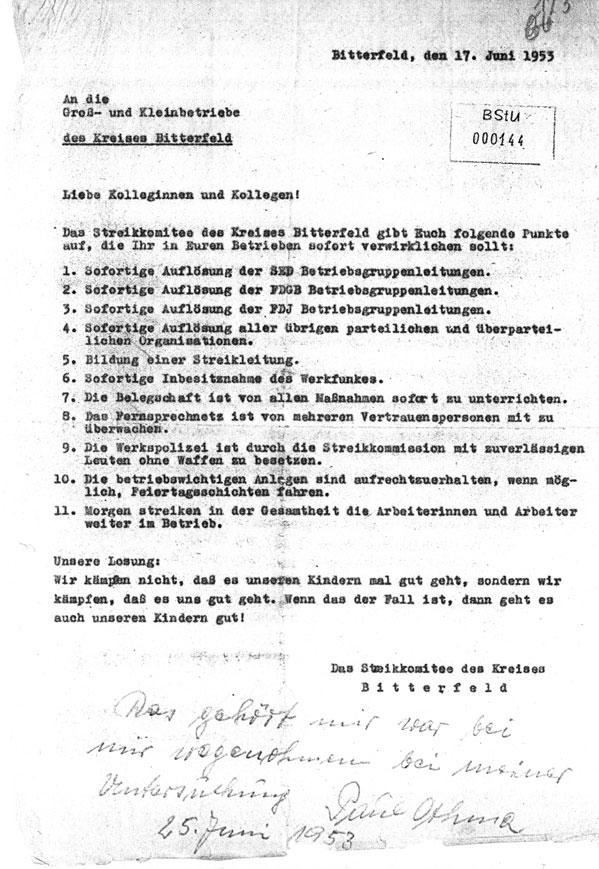 Elf-Punkte-Plan des Kreisstreikkomitees